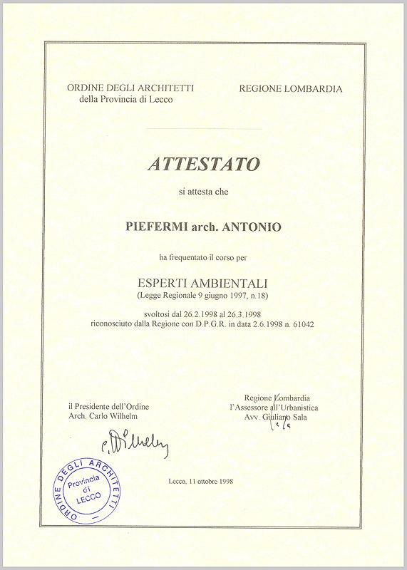 Antonio Piefermi Attestati Barassi Piefermi